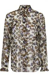 Шелковая блуза с контрастным принтом Derek Lam