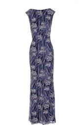 Приталенное платье в пол с цветочной вышивкой Tadashi Shoji