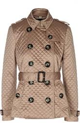 Стеганая двубортная куртка с ремнем Burberry Brit