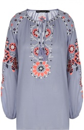 Удлиненная блуза с кистями и контрастной вышивкой Antik Batik