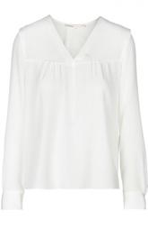 Прямая шелковая блуза с V-образным воротником Maje