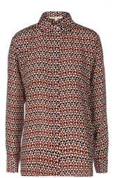 Прямая шелковая блуза с контрастным принтом Maje