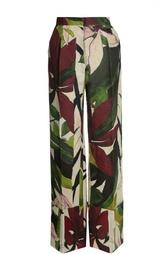 Льняные брюки стрелками и цветочным принтом Erika Cavallini