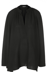 Шелковая блуза свободного кроя с воротником-стойкой Helmut Lang
