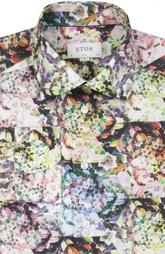 Хлопковая приталенная рубашка с принтом Eton