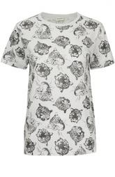 Хлопковая футболка со звериным принтом Saint Laurent