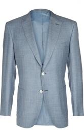 Приталенный пиджак из смеси шерсти с шелком и льном Brioni