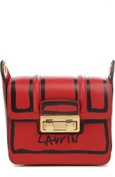 Кожаная сумка с принтом и клапаном Lanvin
