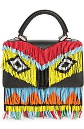 Кожаная сумка с бисерной бахромой Les petits joueurs