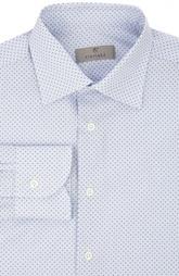 Хлопковая сорочка с мелким принтом и воротником кент Canali