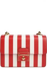 Кожаная сумка в полоску с клапаном Dolce & Gabbana