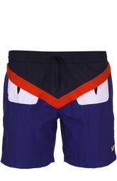 Плавки-шорты color block с карманами Fendi