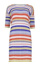 Платье прямого кроя в полоску с круглым вырезом Cruciani