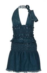 Джинсовое приталенное мини-платье на одной лямке Chloé