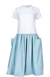 Платье с пышной юбкой в полоску и нашивными карманами Comme des Garcons GIRL