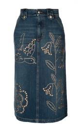 Джинсовая юбка-миди с карманами и заклепками REDVALENTINO