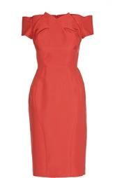 Приталенное шелковое платье с открытыми плечами Zac Posen
