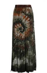 Шелковая юбка в складку с контрастным принтом Valentino