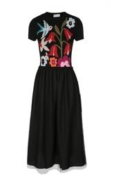 Вязаное платье-миди с ярким принтом REDVALENTINO