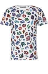 Хлопковая футболка с принтом Moschino