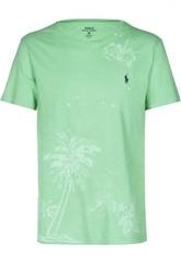Хлопковая футболка джерси с принтом Polo Ralph Lauren
