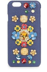 Кожаный чехол для iPhone с декоративной отделкой Dolce & Gabbana