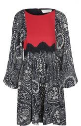 Приталенное мини-платье с кружевной отделкой Chloé