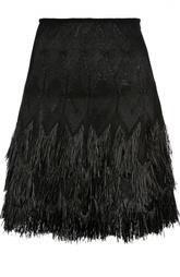 Многоярусная юбка А-силуэта с бахромой Alaia