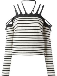 полосатый топ с открытыми плечами Jean Paul Gaultier Vintage