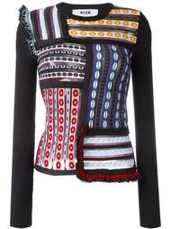 жаккардовый свитер лоскутного кроя MSGM