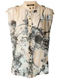 рубашка с принтом роз и змей Roberto Cavalli