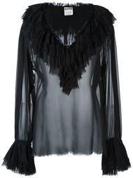 прозрачная блузка с оборками Moschino Vintage