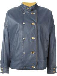 двубортная кожаная куртка Versace Vintage