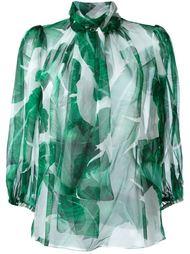 прозрачная блузка с растительным принтом  Dolce & Gabbana