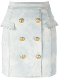 джинсовая юбка с пуговицами Balmain