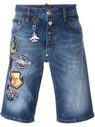 джинсовые бермуды с заплатками Philipp Plein
