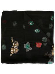 шарф с принтом черепов и бабочек Alexander McQueen