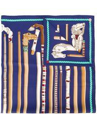 платок с принтом в виде трости Hermès Vintage