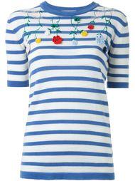 трикотажная футболка с цветочной вышивкой Vivetta