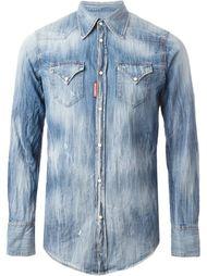 потёртая джинсовая рубашка Dsquared2