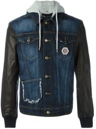 джинсовая куртка с кожаными рукавами  Philipp Plein