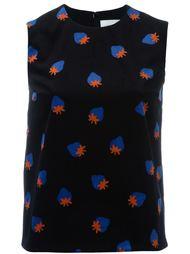 strawberry print sleeveless top Victoria Victoria Beckham