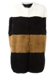 colour block striped sleeveless coat Blancha
