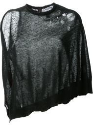 fine knit distressed cape jumper  Mihara Yasuhiro