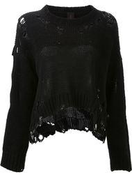 свитер с рваными деталями  Mihara Yasuhiro