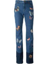 джинсы с аппликацией бабочек Valentino