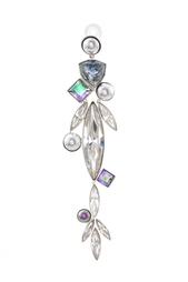 Серьга из латуни с кристаллами и жемчугом Ca&Lou