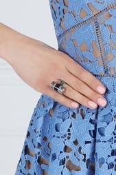 Серебряное кольцо Barrel с эмалевой вставкой Rachel Zoe