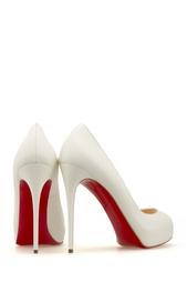 Белые Кожаные туфли New Very Prive 120 Christian Louboutin