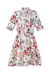 Платье из шелка и хлопка Oscar de la Renta